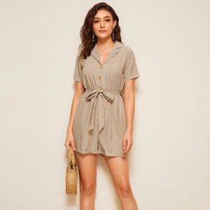 Belted Striped Romper